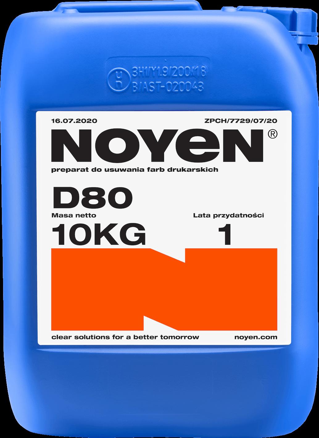 D80 NOYEN 10 KG preparat do usuwania farb drukarskich w niebieskim kanistrze