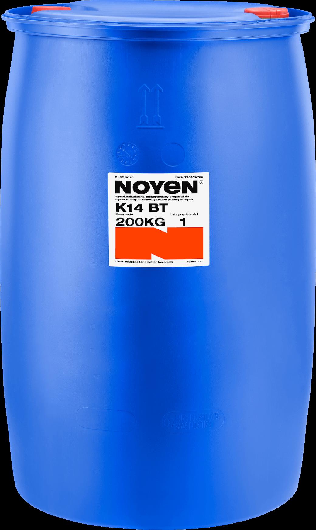K14 BT NOYEN 200 KG wysokoalkaliczny, niskopieniący preparat do mycia trudnych zanieczyszczeń przemysłowych w niebieskiej beczce