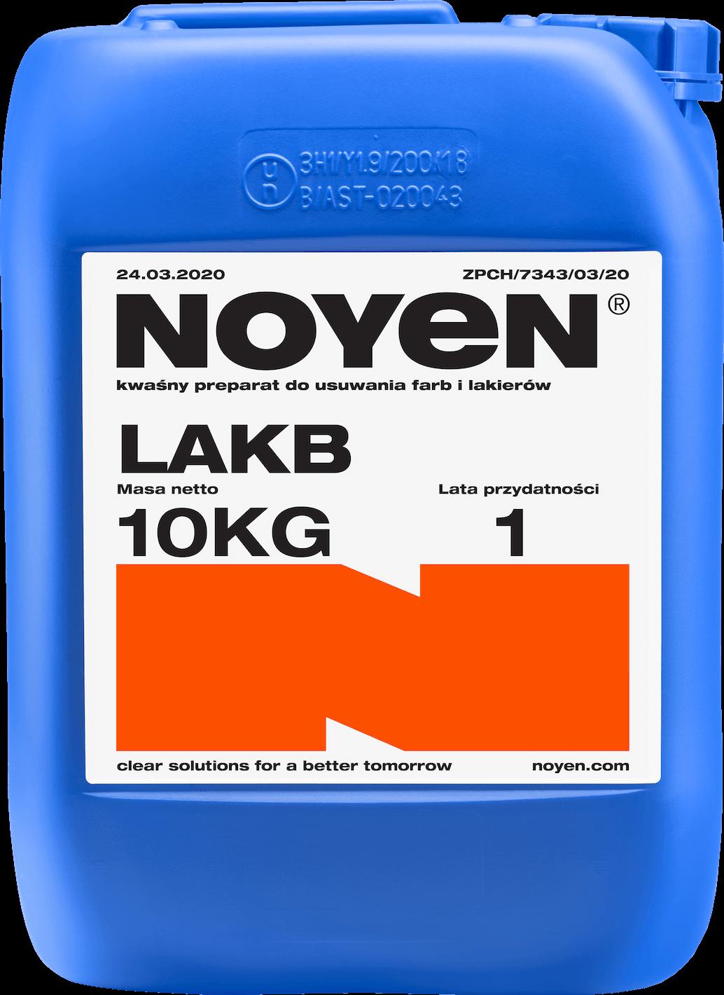 LAKB NOYEN 10 KG kwaśny preparat do usuwania farb i lakierów w niebieskim kanistrze