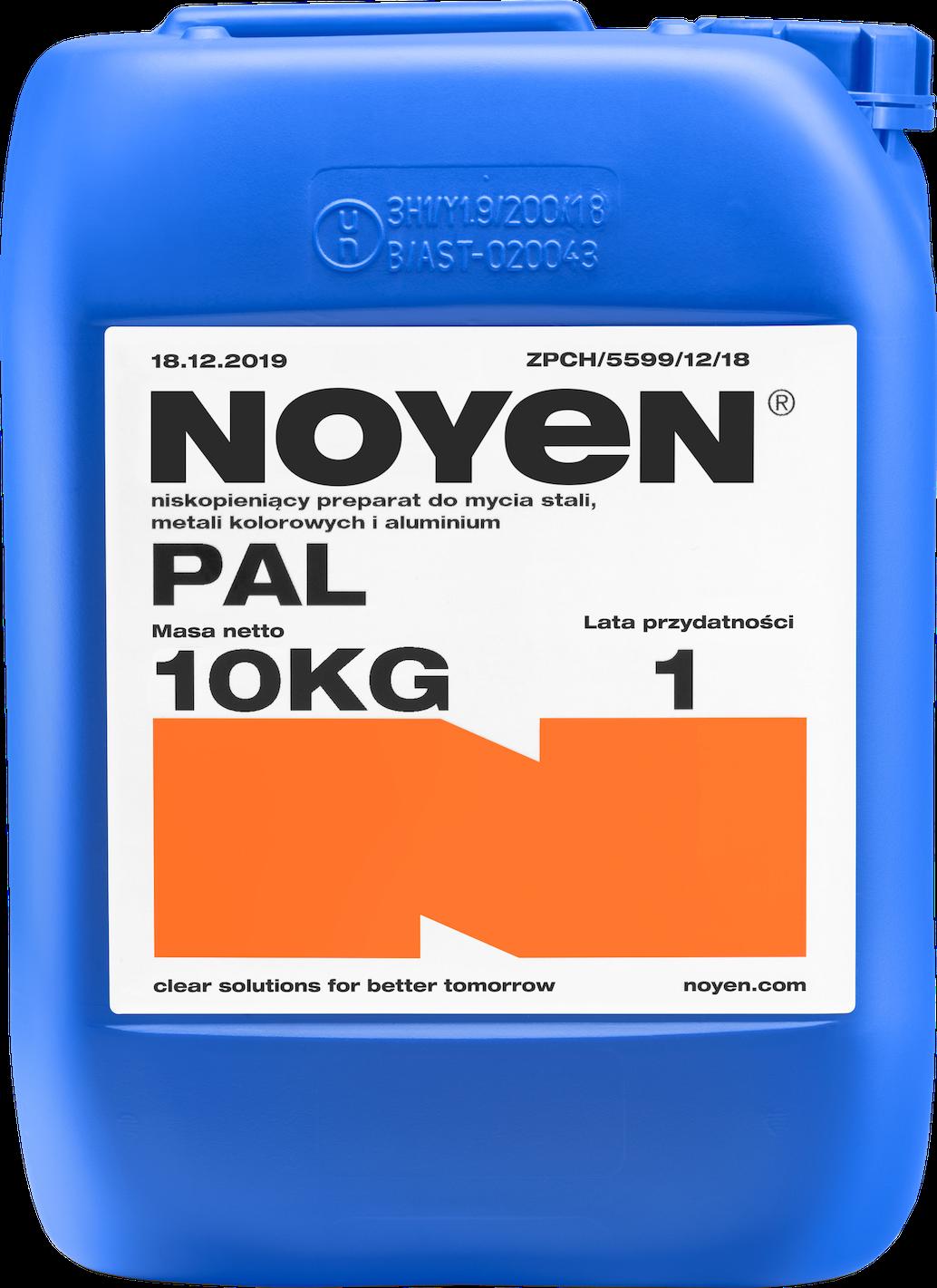 PAL NOYEN 10 KG niskopieniący preparat do mycia stali, metali kolorowych i aluminium w niebieskim kanistrze