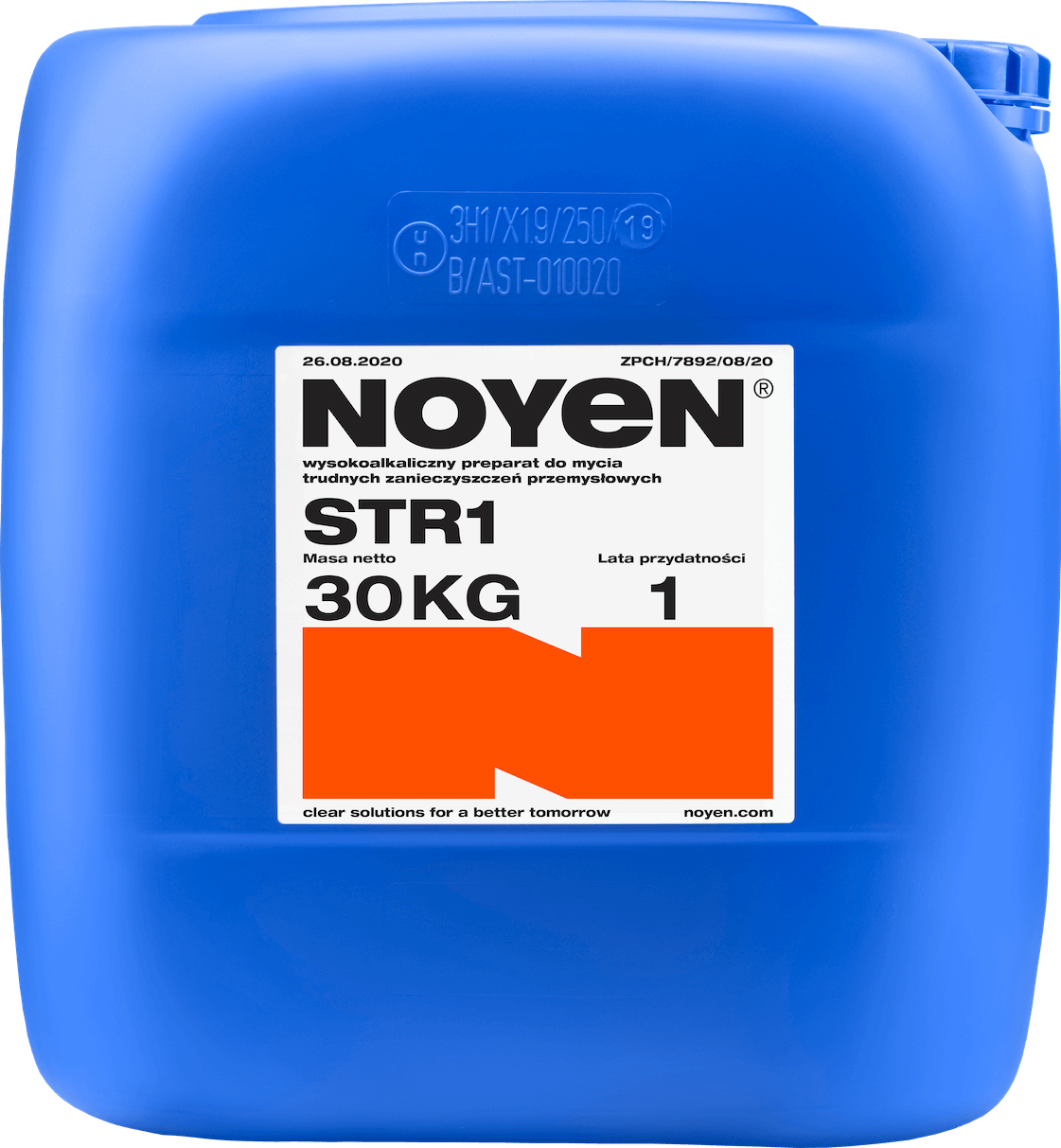 STR1 NOYEN 30 KG wysokoalkaiczny preparat do mycia trudnych zanieczyszczeń przemysłowych w niebieskim kanistrze